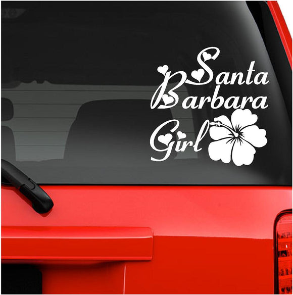 Decals - Stickers. USA. Santa Barbara Girl Hawaiian Flower 6