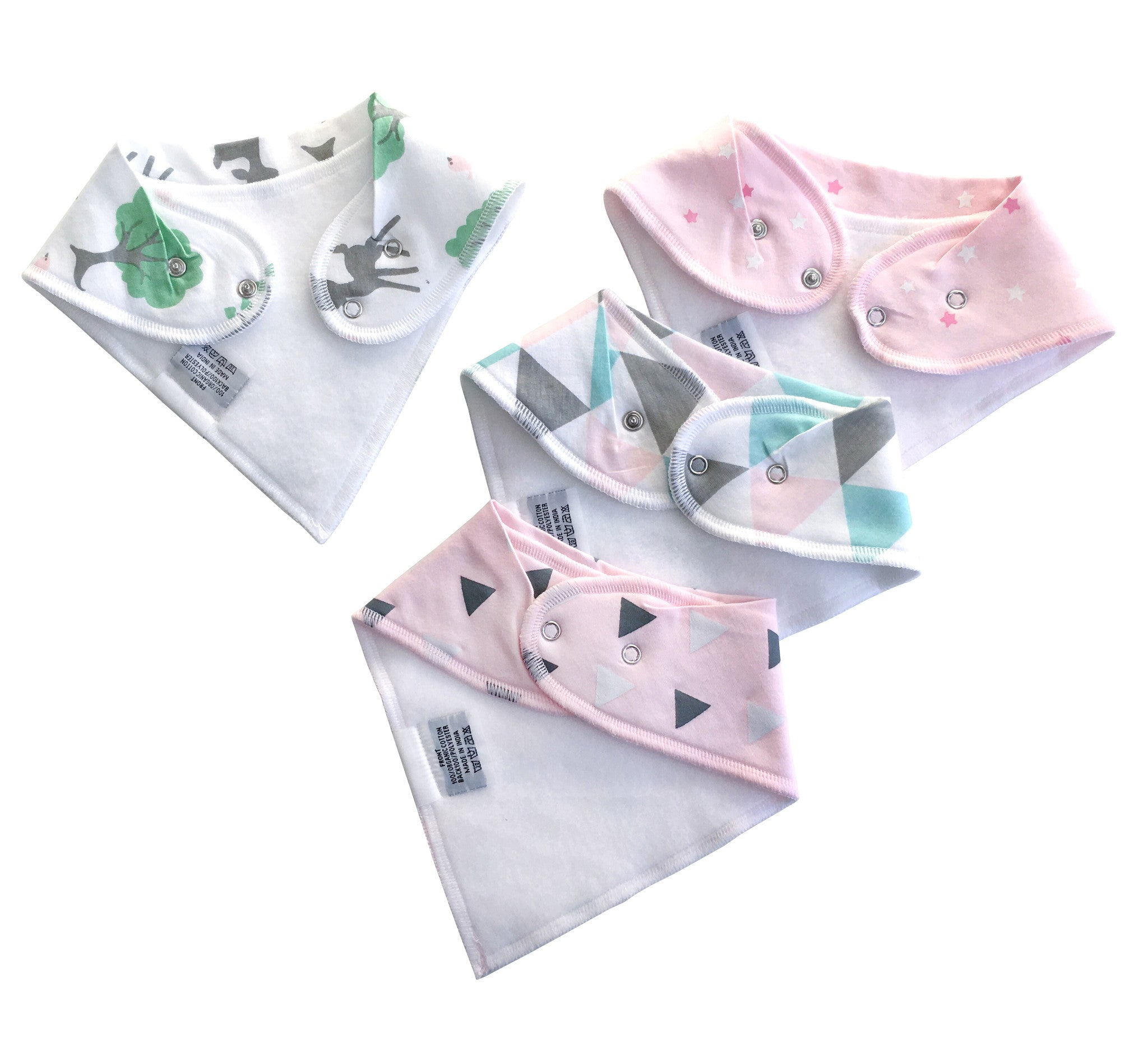 Baby Organic Bandana Drool Bibs (4 Pack)             Enchanted Forest Set - Little Kims