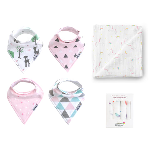 Bibs Swaddle Hankie Set - Forest Rainbow Birds - Little Kims