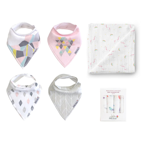 Bibs Swaddle Hankie Set - Modern Mosaic, Rainbow Unicorns & Birds of a Feather - Little Kims