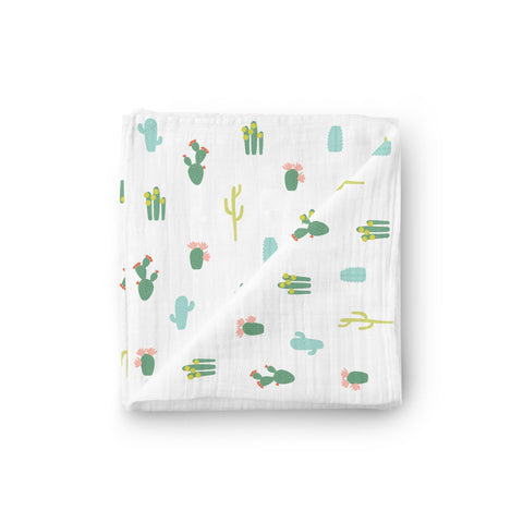 Luxury Muslin Swaddle Blanket - Desert Cactus - Little Kims