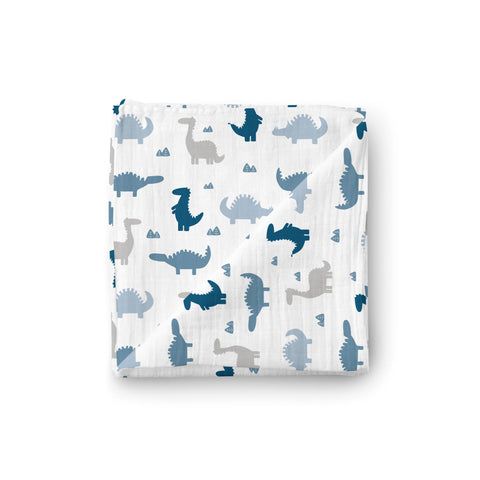 Muslin Swaddle Blanket - Dino Friends - Little Kims