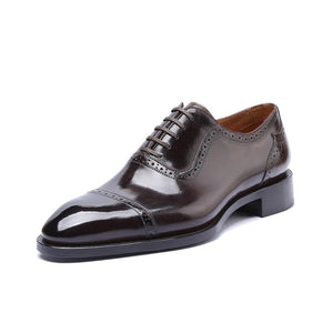 brown captoe oxford shoe