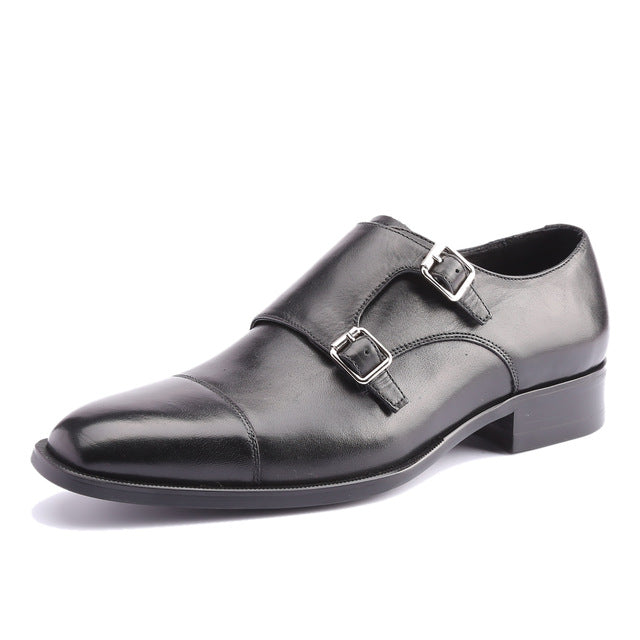double monk derby black leather shoe