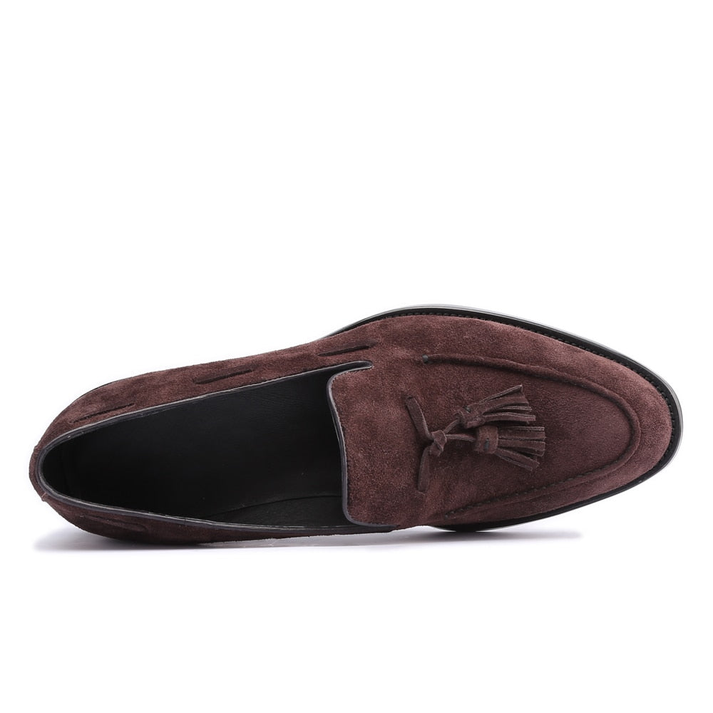 brown suede tassel loafer