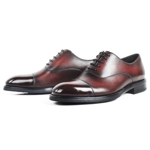 burgundy captoe oxford shoe