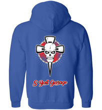 Zippered Front Skull & Cross Hoodie