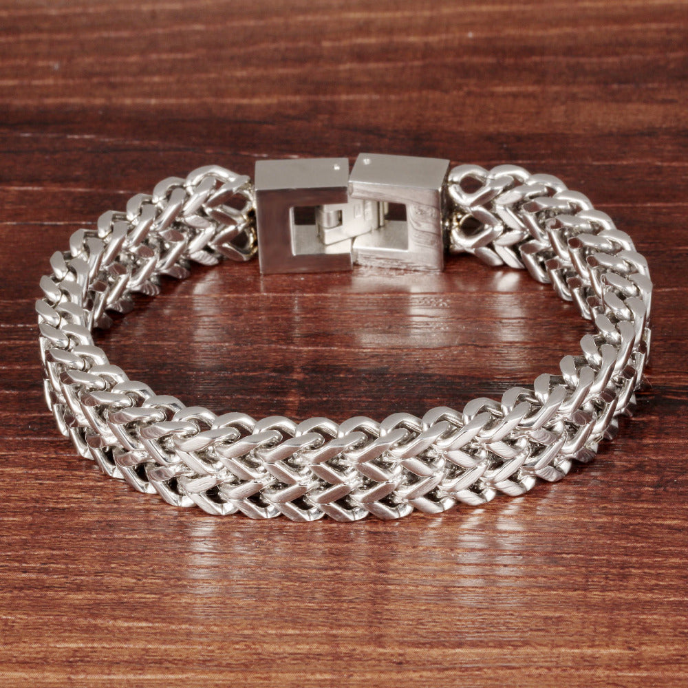 Man's Double Layer Snake Chain Link Stainless Steel 12mm Bracelet