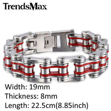 Stainless Steel Motorcycle Chain Link Bracelet available in multiple color combinations