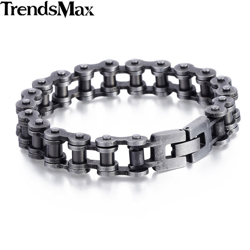 Stainless Steel Motorcycle Chain Link Bracelet in Matte Gunmetal Finish