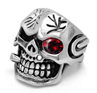 Men's Retro Skull Ring With Red Zircon Eye