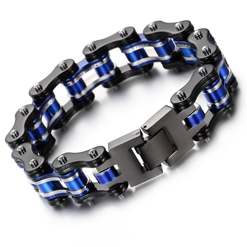 Black & Cobalt Blue Stainless Steel Motorcycle Chain Bracelet Large Men's