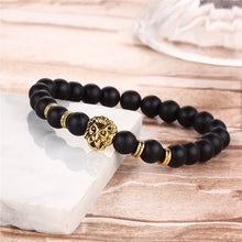 Women's 17KM Black Lava Natural Stone Bead Bracelet