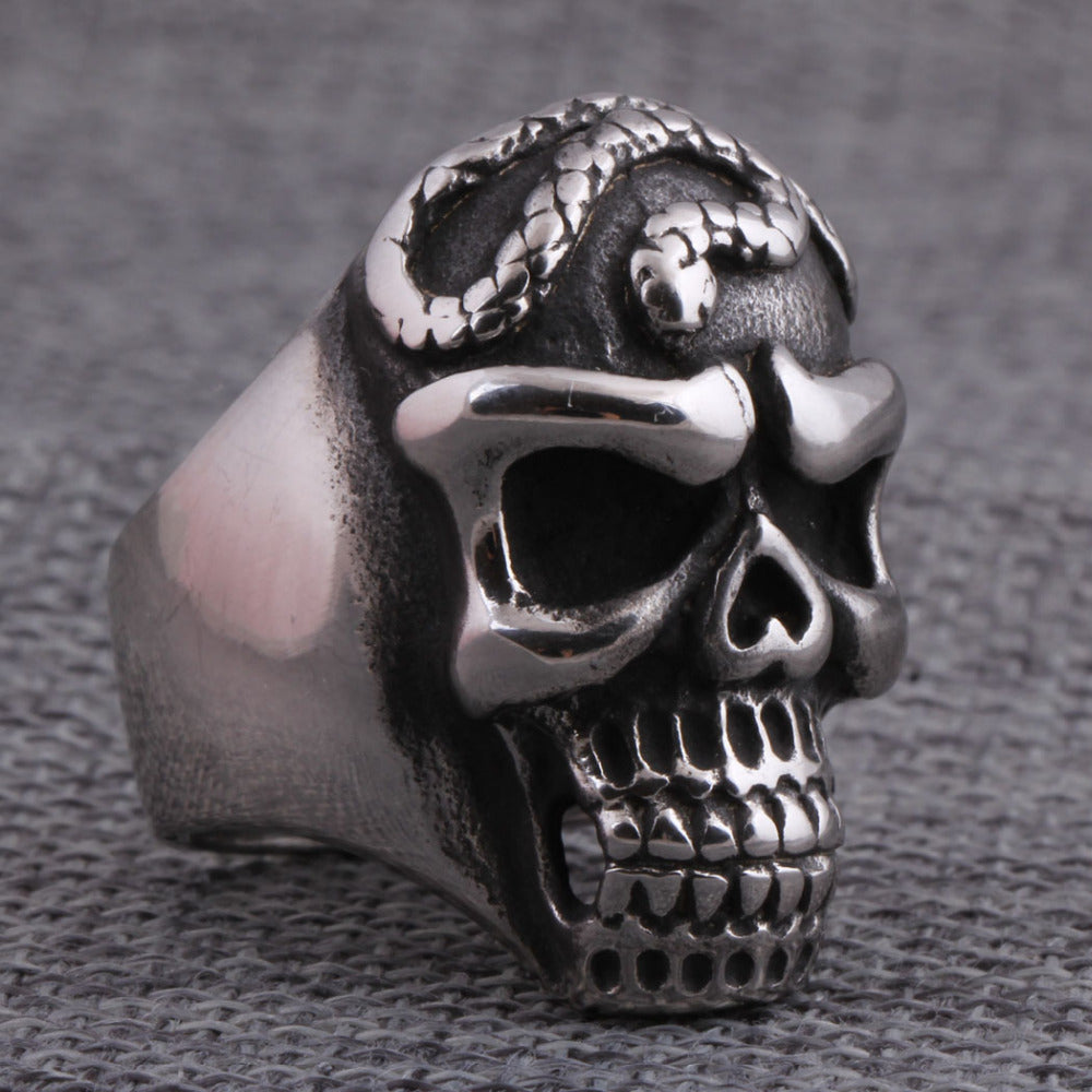 Personality Cool Snake around Skull Head Men  Ring Biker Man Gothic Style Titanium Steel Silver Punk Rings