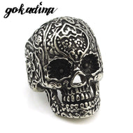 Stainless Steel Skull Ring Tattoo Print