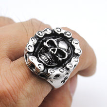 Skull Motorcycle Chain Ring w/ Maltese Cross
