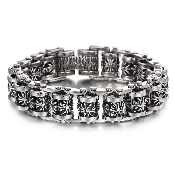 Men's Chain Skull  or Cross Motorcycle Link Bracelet