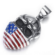 Stainless Steel American or Rebel Flag Skull Pendant