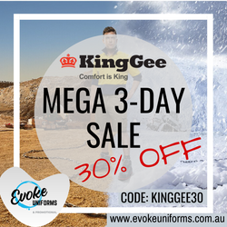 King Gee Mega 3-Day Sale - 30% OFF!
