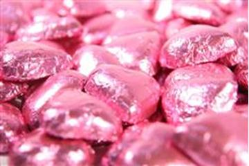 Chocolate Hearts - Pink Foil - in 500g Bag