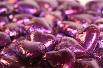 Chocolate Hearts - Purple Foil - in 500g Bag