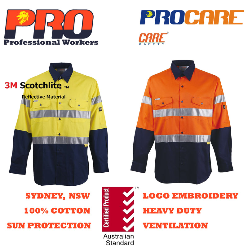 PRO Work Shirt cotton drill (Long Sleeve) CR 3M ref Tape 1001/1002