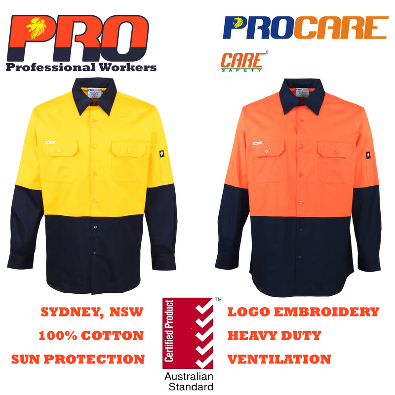 HiVis Cotton Drill shirts (No Tape) with Vents long sleeve Aus/NZ Standard 1004/06