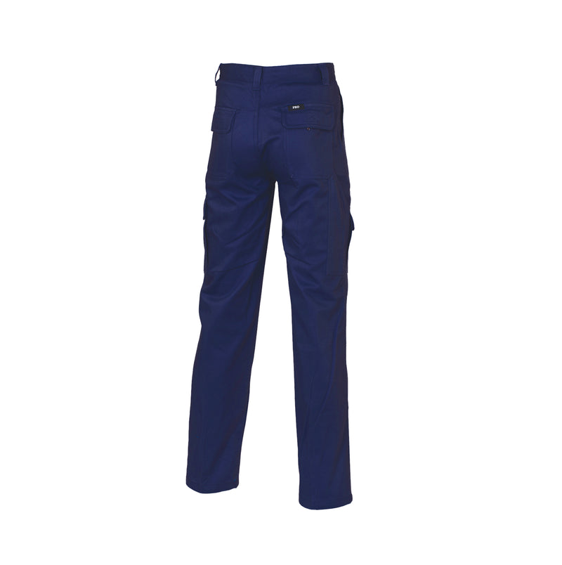 PRO 1101 Cargo Pants 100% Cotton Drill Heavy Duty 8 pockets Navy Blue (311gsm) Rear