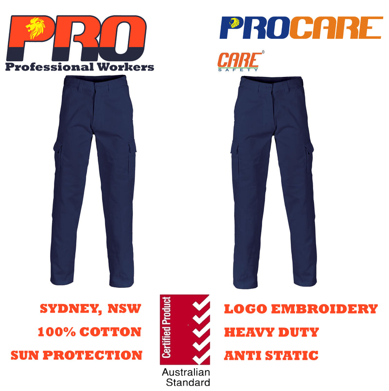 PRO 1101 Cargo Pants 100% Cotton Drill Heavy Duty 8 pockets Navy Blue (311gsm)