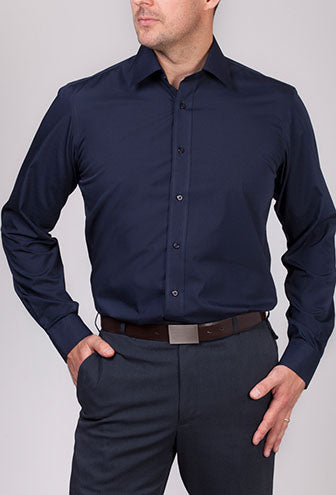 Mens Silk Protein Premium Poplin Shirt - Long Sleeve