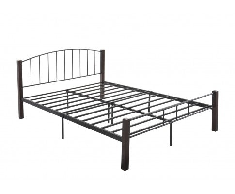 Bed frame w/ solidwood post in Black + Wenge - Double