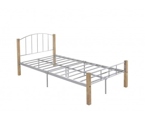 Bed frame w/ solidwood post in Natural + Silver - King Single