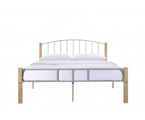 Bed frame w/ solidwood post in Natural + Silver - Double