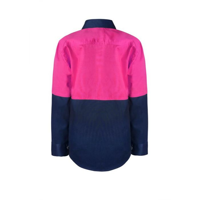 Personalised Kids PINK Hi Vis Two Tone Long Sleeve Shirt - Embroidered with individual name (Front RHB)