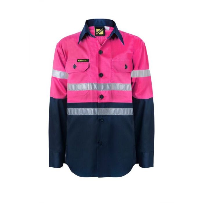 Kids PINK Hi Vis Two Tone Long Sleeve Shirt with 3M Reflective Tape