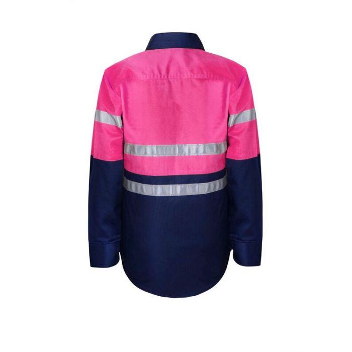 Personalised Kids PINK Hi Vis Two Tone Long Sleeve Shirt with 3M Reflective Tape - Embroidered with individual name (Front RHB)