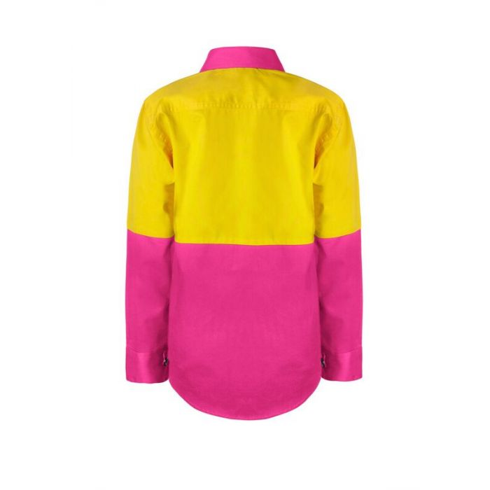 Personalised Kids Hi Vis Two Tone Long Sleeve Shirt - Embroidered with individual name (Front RHB)