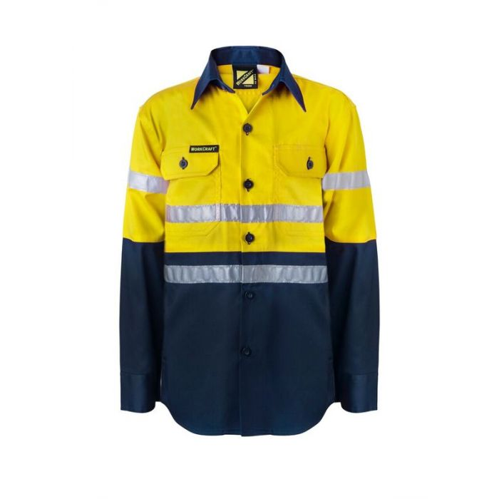 Kids Hi Vis Two Tone Long Sleeve Shirt with 3M Reflective Tape