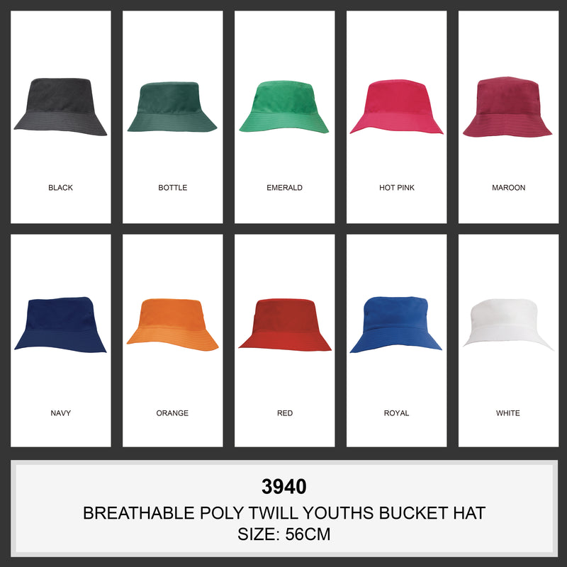 HS-3940 Breathable Poly Twill Youth Bucket Hat colours