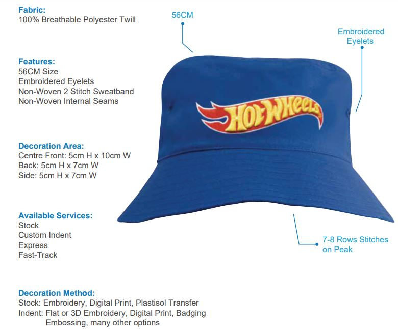 HS-3940 Breathable Poly Twill Youth Bucket Hat spec sheet