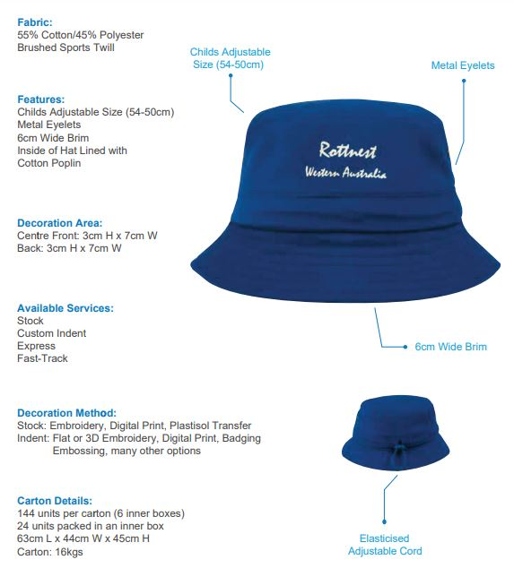 HS-4131 Brushed Sports Twill Childs Bucket Hat spec sheet