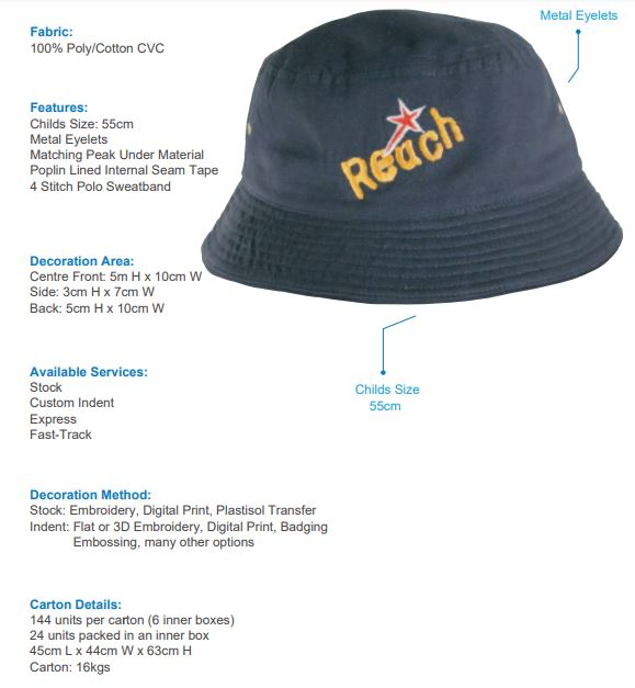 HS-4166 Childs Brushed Sports Twill Bucket Hat spec sheet
