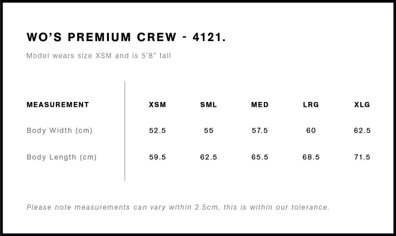 AS Colour 4121 Premium Crew Ladies-size guide