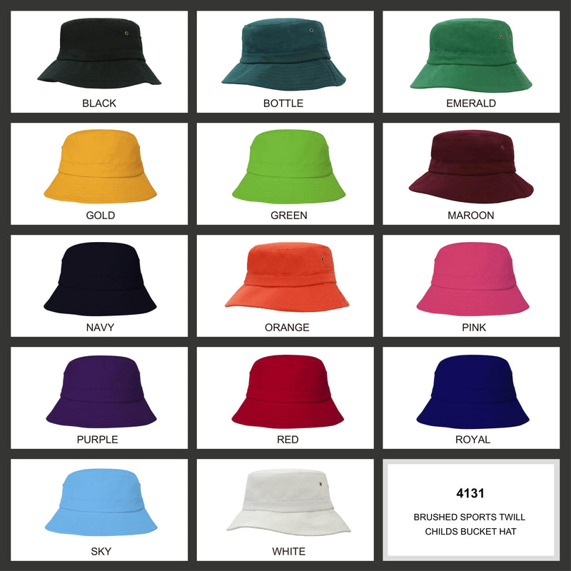 HS-4131 Brushed Sports Twill Childs Bucket Hat colours