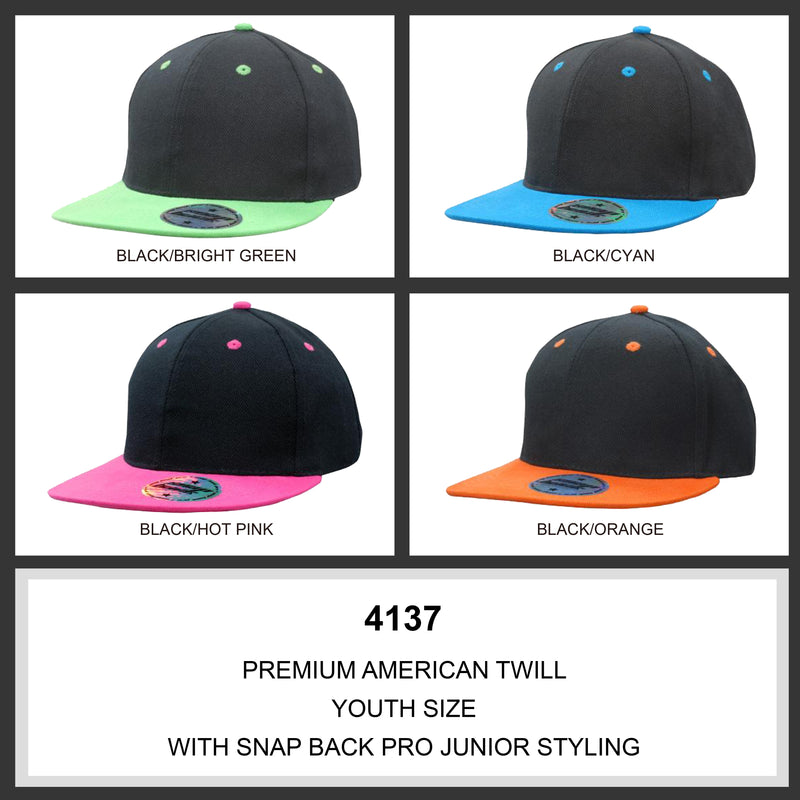 Adult & Youth Personalised Premium American Twill with Snap Back Pro Styling - 2 PACK