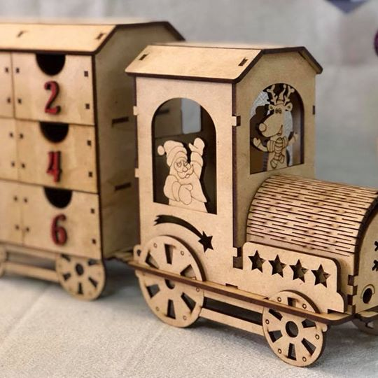 Wooden Train Christmas Advent Calendar - Countdown DIY Puzzle Kit