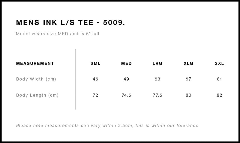 AS Colour 5009 Ink Long Sleeve Tee Mens size chart