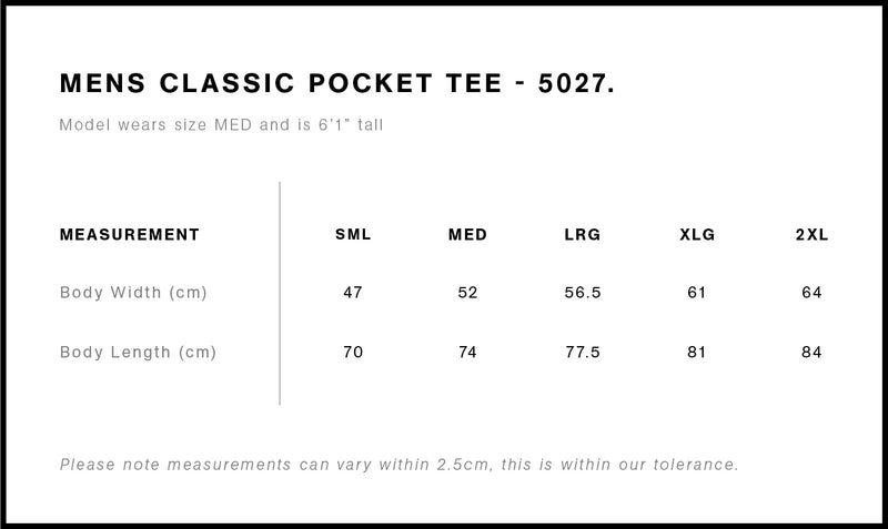 AS Colour 5027 Classic Pocket Tee Mens size