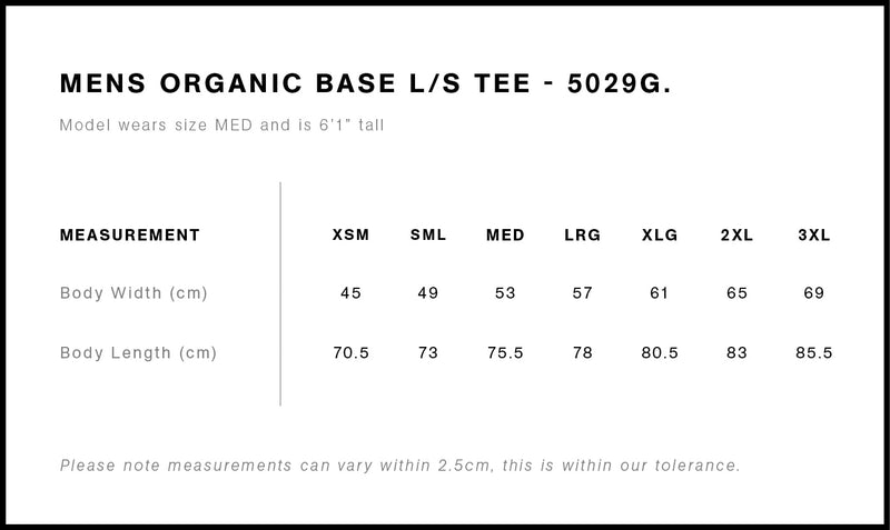 AS Colour 5029G Base Organic Long Sleeve Tee Mens Size Guide