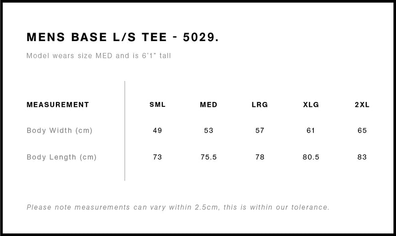 AS Colour 5029 Base Long Sleeve Tee Mens size guide